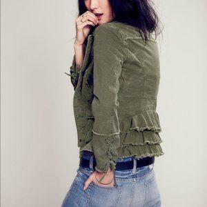 Free People Olive Ruffled Jean Jacket Sz XS
